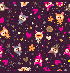 cute kittens and flowers seamless pattern vector image