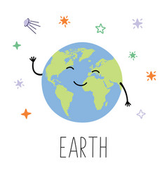 Cute planet earth planet with hands and eyes vector