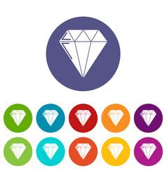 diamond icons set color vector image