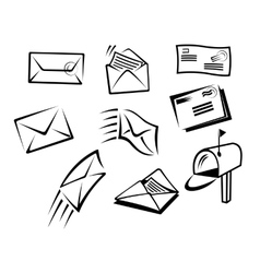 envelopes and mail symbols vector image