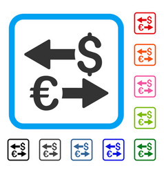 euro dollar transactions framed icon vector image
