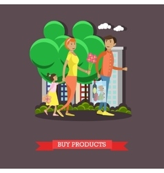 Family coming back from shopping in grocery store vector