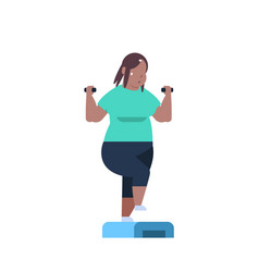 fat overweight woman holding dumbbells doing vector image