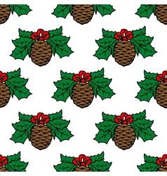 Fir cone seamless pattern vector image