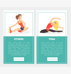 fitness yoga banner templates set with exercising vector image