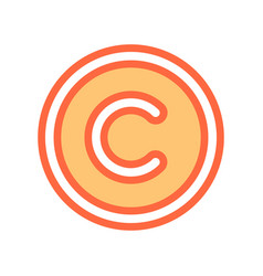 Flat copyright symbol sign icon vector