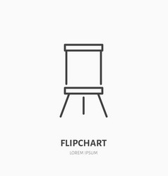 flipchart flat line icon marker board sign thin vector image