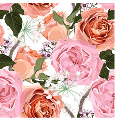 Floral seamless pattern with pink creamy roses vector