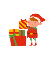 funny dwarf elf with stack christmas gift boxes vector image