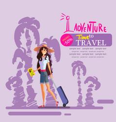 Girl travels around world eps 10 vector