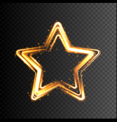 Glowing gold star transparent light effect vector