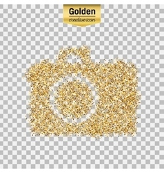 Gold glitter icon of photo camera isolated vector