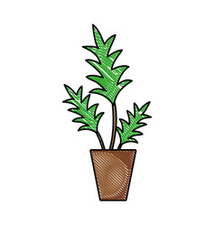 grated nature plant with leaves inside flowerpot vector image