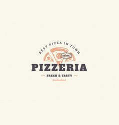 hand drawn logo pizza slice silhouette and modern vector image