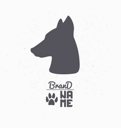 hand drawn silhouette of dog head vector image