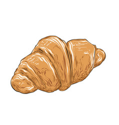 hand drawn sketch of croissant in color isolated vector image