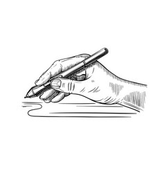 hand holds stylus for drawing on graphic vector image