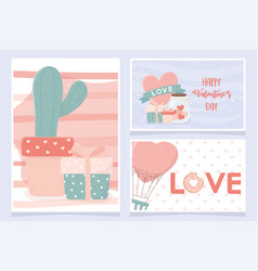 happy valentines day banners cactus ifts heart air vector image