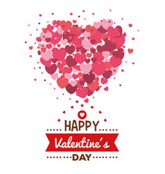 happy valentines day card with hearts pattern vector image