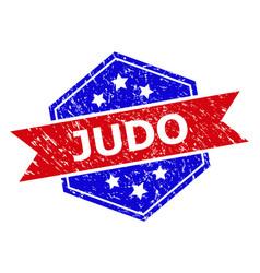 Hexagon bicolor judo stamp seal with distress vector