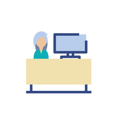 Isolated woman receptionist design vector