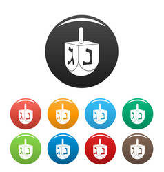 jewish dreidel icons set color vector image