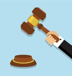 Judge hammer in hand vector