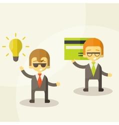 Lamp of idea concept businessman partners vector image