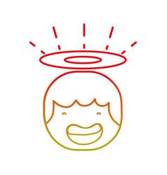 Line tender happy angel head with aureole design vector