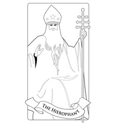 Major arcana tarot cards hierophant pope vector