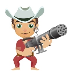Man in the hat armed with machine gun vector