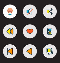 media icons colored line set with gallery vector image