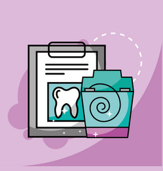 Medical report and dental floss vector