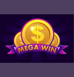 mega win banner background for online casino vector image