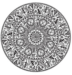 Monochrome round seamless ornament vector