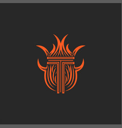 monogram letter t logo in flames fire heraldic vector image