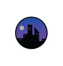 Night city view icon sign symbol vector