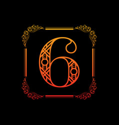 Number 6 with ornament vector