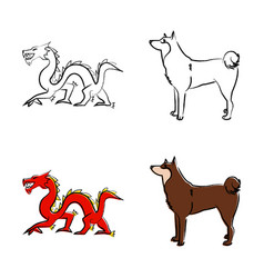 outline draw animals vector image