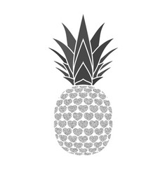 Pineapple with hearts tropical silver exotic vector