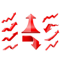 red arrows financial indication icons set vector image