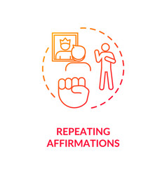 Repeating affirmations concept icon vector