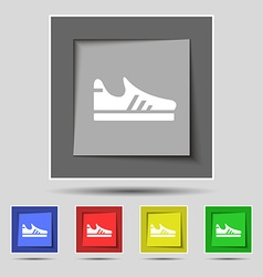 Running shoe icon sign on original five colored vector