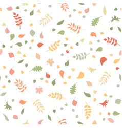 seamless pattern of autumn leaves on white vector image