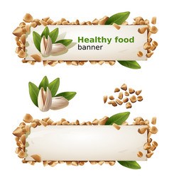 Set banners with pistachios and ground nuts vector