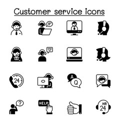 Set customer service related icons contains vector