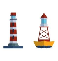 Set of cartoon flat lighthouses vector