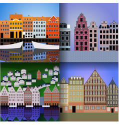 set of european cities vector image