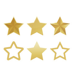 set of realistic golden 3d star isolated on white vector image