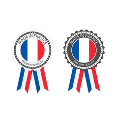 Set premium quality labels with french flag vector